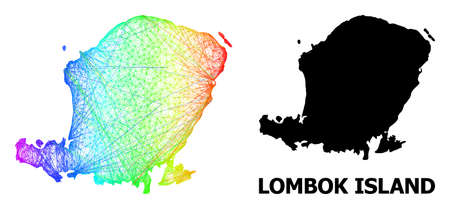 Network and solid map of Lombok Island. Vector structure is created from map of Lombok Island with intersected random lines, and has bright spectral gradient.