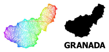 Network and solid map of Granada Province. Vector structure is created from map of Granada Province with intersected random lines, and has spectral gradient.