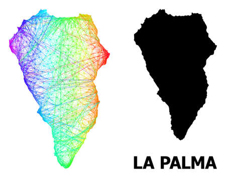 Wire frame and solid map of La Palma Island. Vector model is created from map of La Palma Island with intersected random lines, and has spectral gradient. Abstract lines form map of La Palma Island. Illustration