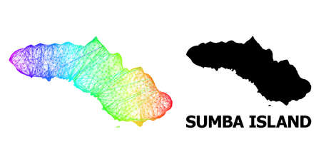 Net and solid map of Sumba Island. Vector structure is created from map of Sumba Island with intersected random lines, and has rainbow gradient. Abstract lines are combined into map of Sumba Island.