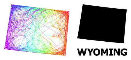 Wire frame and solid map of Wyoming State. Vector structure is created from map of Wyoming State with intersected random lines, and has bright spectral gradient.