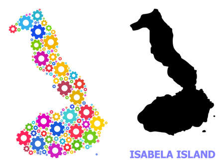 Vector mosaic map of Galapagos - Isabela Island combined for engineering. Mosaic map of Galapagos - Isabela Island is created with random multi-colored cogs. Engineering components in bright colors.