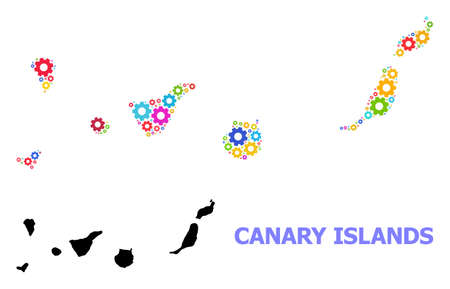 Vector collage map of Canary Islands constructed for engineering. Mosaic map of Canary Islands is organized from random bright gear wheels. Engineering items in bright colors.