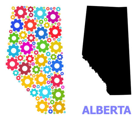 Vector composition map of Alberta Province created for engineering. Mosaic map of Alberta Province is created from random multi-colored wheels. Engineering items in bright colors.