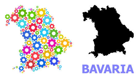 Vector mosaic map of Bavaria State designed for mechanics. Mosaic map of Bavaria State is done from randomized colored cogs. Engineering components in bright colors.