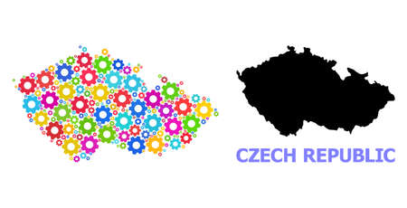 Vector mosaic map of Czech Republic constructed for engineering. Mosaic map of Czech Republic is made of scattered colorful gears. Engineering components in bright colors.