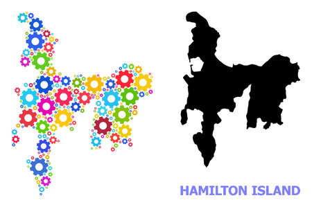 Vector mosaic map of Hamilton Island done for engineering. Mosaic map of Hamilton Island is composed of scattered bright gear wheels. Engineering components in bright colors.