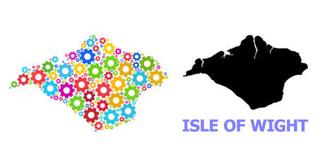 Vector collage map of Isle of Wight designed for workshops. Mosaic map of Isle of Wight is done from randomized bright gears. Engineering components in bright colors.
