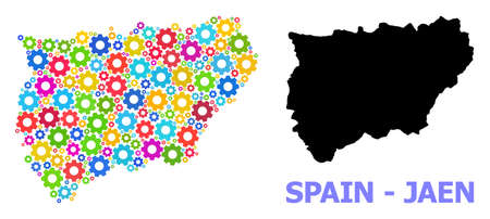 Vector mosaic map of Jaen Spanish Province combined for engineering. Mosaic map of Jaen Spanish Province is constructed of scattered multi-colored gears. Engineering items in bright colors. 일러스트