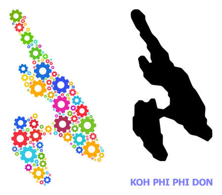 Vector mosaic map of Koh Phi Don constructed for engineering. Mosaic map of Koh Phi Don is done with scattered multi-colored gears. Engineering components in bright colors.