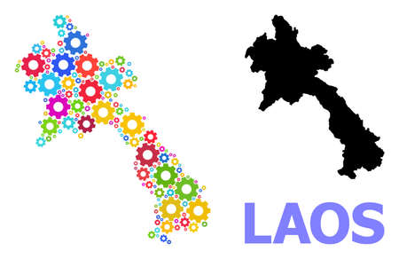 Vector mosaic map of Laos combined for engineering. Mosaic map of Laos is created from random bright cogs. Engineering items in bright colors.