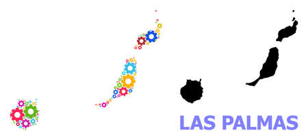 Vector mosaic map of Las Palmas Province created for services. Mosaic map of Las Palmas Province is made of scattered bright gears. Engineering items in bright colors. Ilustración de vector