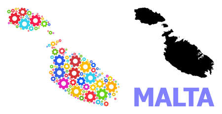 Vector composition map of Malta combined for engineering. Mosaic map of Malta is organized from randomized bright gear wheels. Engineering components in bright colors.
