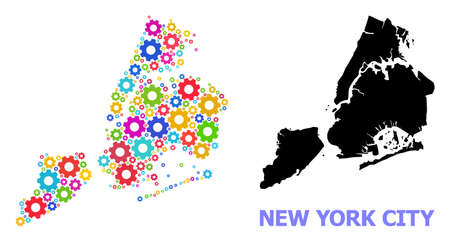 Vector collage map of New York City done for engineering. Mosaic map of New York City is composed of scattered bright wheels. Engineering items in bright colors. 矢量图像