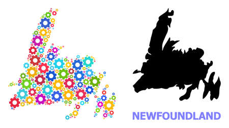 Vector mosaic map of Newfoundland Island combined for mechanics. Mosaic map of Newfoundland Island is done with scattered bright gears. Engineering components in bright colors. Vecteurs