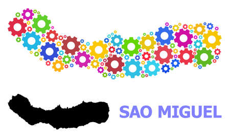Vector mosaic map of Sao Miguel Island designed for industrial apps. Mosaic map of Sao Miguel Island is formed with scattered bright gear wheels. Engineering components in bright colors.
