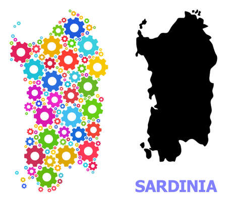 Vector mosaic map of Sardinia region constructed for engineering. Mosaic map of Sardinia region is constructed with scattered multi-colored cogs. Engineering items in bright colors.
