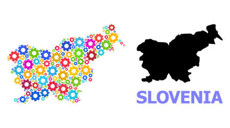 Vector mosaic map of Slovenia constructed for engineering. Mosaic map of Slovenia is organized from randomized bright gears. Engineering items in bright colors.