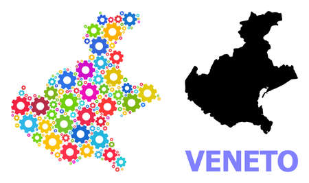 Vector composition map of Veneto region designed for engineering. Mosaic map of Veneto region is created of randomized bright wheels. Engineering components in bright colors.