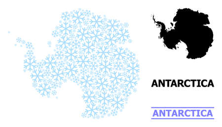 Vector mosaic map of Antarctica combined for New Year, Christmas celebration, and winter. Mosaic map of Antarctica is created from light blue snow items.