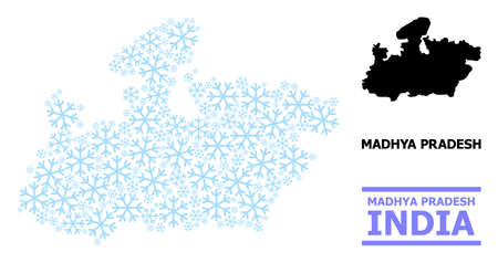 Vector mosaic map of Madhya Pradesh State organized for New Year, Christmas celebration, and winter. Mosaic map of Madhya Pradesh State is constructed from light blue snowflakes.