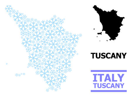 Vector composition map of Tuscany region organized for New Year, Christmas celebration, and winter. Mosaic map of Tuscany region is shaped from light blue snow elements.