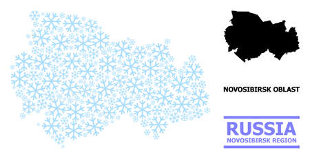 Vector mosaic map of Novosibirsk Region organized for New Year, Christmas celebration, and winter. Mosaic map of Novosibirsk Region is organized from light blue ice crystals.