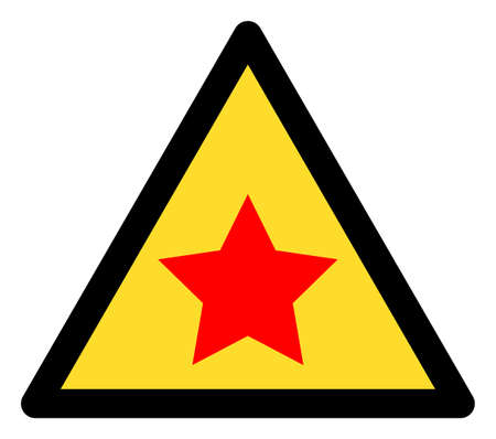 Communism star warning icon with flat style. Isolated vector communism star warning icon image on a white background.