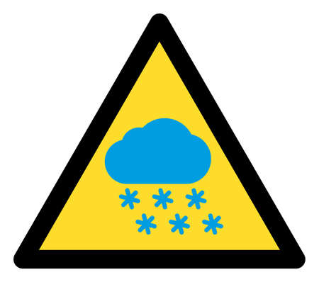 Snow weather warning icon with flat style. Isolated raster snow weather warning icon image on a white background.