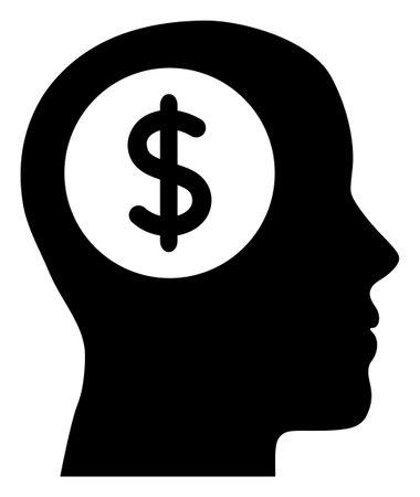 Bank thinking icon with flat style. Isolated raster bank thinking icon image on a white background.