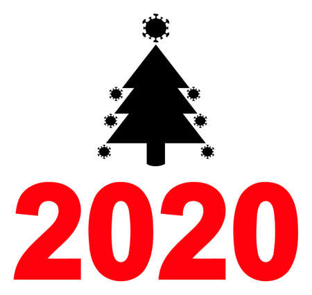 Covid 2020 new year icon with flat style. Isolated raster covid 2020 new year icon image on a white background.
