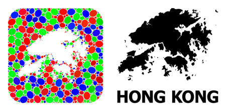 Vector mosaic and solid map of Hong Kong. Bright geographic map designed as hole from rounded square with bright ovals. Mosaic map of Hong Kong designed with elliptic elements in various sizes.