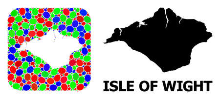 Vector mosaic and solid map of Isle of Wight. Bright geographic map designed as subtraction from rounded square with bright elliptic elements.