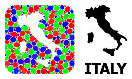 Vector mosaic and solid map of Italy. Bright geographic map created as subtraction from rounded square with bright elliptic elements.
