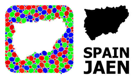 Vector mosaic and solid map of Jaen Spanish Province. Bright geographic map designed as stencil from rounded square with bright elliptic elements.