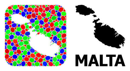 Vector mosaic and solid map of Malta. Bright geographic map designed as hole from rounded square with bright elliptic elements. Mosaic map of Malta formed with elliptic elements in variable sizes. 矢量图像
