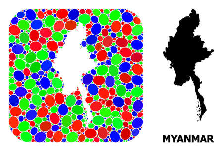 Vector mosaic and solid map of Myanmar. Bright geographic map designed as carved shape from rounded square with bright elliptic elements.