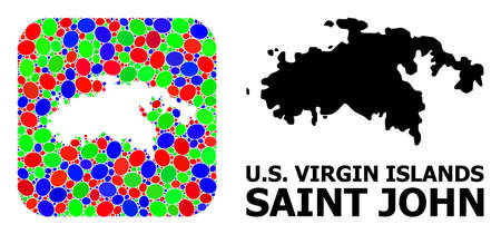 Vector mosaic and solid map of Saint John Island. Bright geographic map created as carved shape from rounded square with bright ovals.