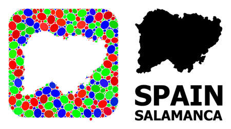 Vector mosaic and solid map of Salamanca Province. Bright geographic map designed as carved shape from rounded square with bright elliptic elements.