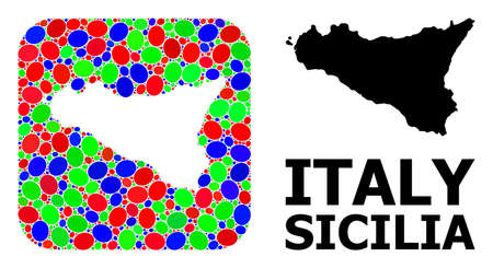 Vector mosaic and solid map of Sicilia Island. Bright geographic map created as hole from rounded square with bright ovals. Mosaic map of Sicilia Island formed with ovals in variable sizes.