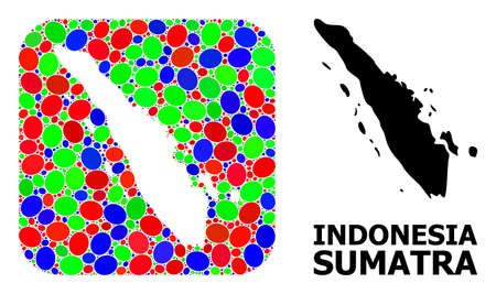 Vector mosaic and solid map of Sumatra Island. Bright geographic map designed as carved shape from rounded square with bright elliptic elements. Vetores