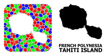 Vector mosaic and solid map of Tahiti Island. Bright geographic map created as hole from rounded square with bright elliptic elements.