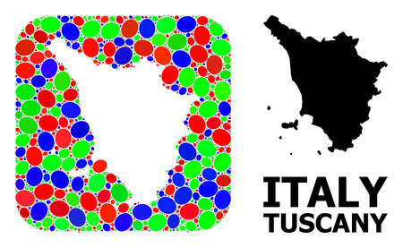 Vector mosaic and solid map of Tuscany region. Bright geographic map constructed as subtraction from rounded square with bright elliptic elements.