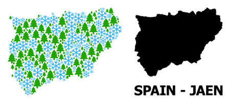 Vector mosaic map of Jaen Spanish Province organized for New Year, Christmas, and winter. Mosaic map of Jaen Spanish Province is organized of snow flakes and fir trees.