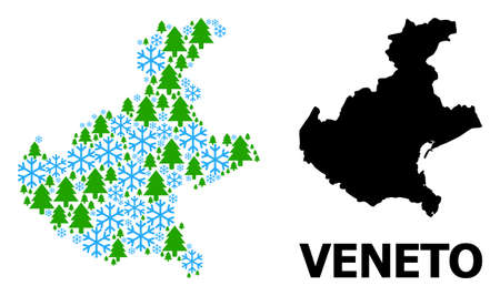 Vector mosaic map of Veneto region designed for New Year, Christmas, and winter. Mosaic map of Veneto region is designed from snow flakes and fir trees.