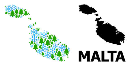 Vector collage map of Malta constructed for New Year, Christmas, and winter. Mosaic map of Malta is constructed with snow and fir-trees.