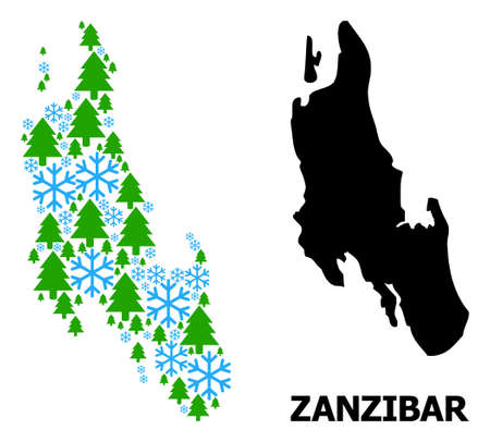 Vector mosaic map of Zanzibar Island done for New Year, Christmas, and winter. Mosaic map of Zanzibar Island is done from snowflakes and fir trees.