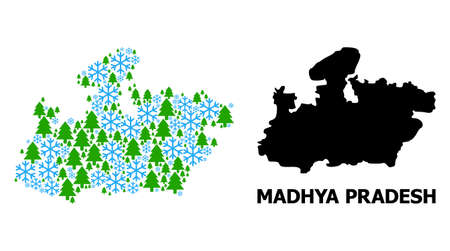 Vector mosaic map of Madhya Pradesh State organized for New Year, Christmas, and winter. Mosaic map of Madhya Pradesh State is created with snow flakes and fir-trees.