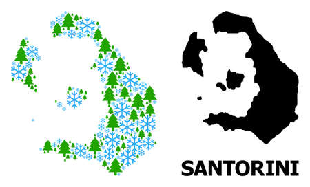 Vector mosaic map of Santorini Island organized for New Year, Christmas, and winter. Mosaic map of Santorini Island is done from snow and fir-trees.