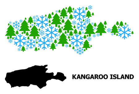 Vector mosaic map of Kangaroo Island organized for New Year, Christmas, and winter. Mosaic map of Kangaroo Island is designed with snowflakes and fir-trees.  イラスト・ベクター素材